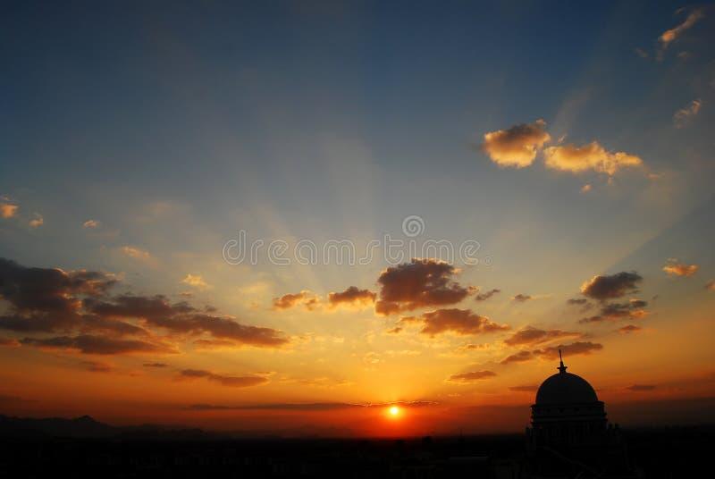 De zonsondergang van Hangzhou stock foto