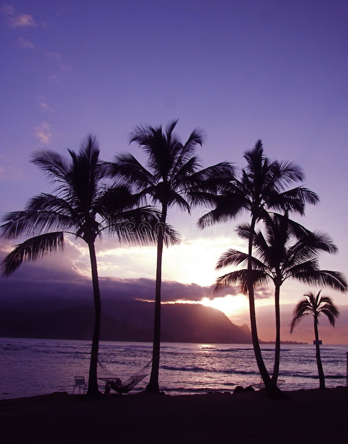 De Zonsondergang van Hawaï stock afbeeldingen