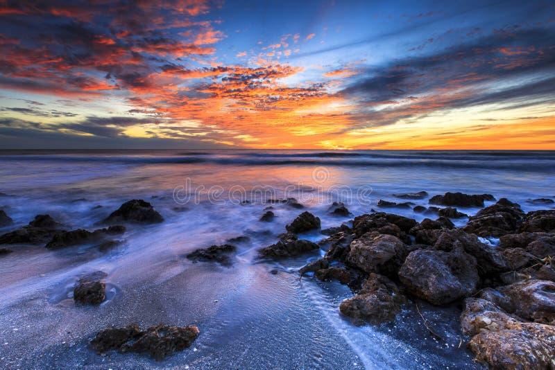 De Zonsondergang van het Caspersonstrand stock afbeelding