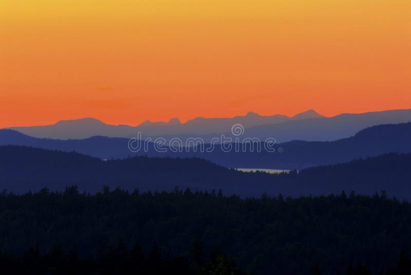 De zonsondergang van het Eiland van Saltspring royalty-vrije stock fotografie