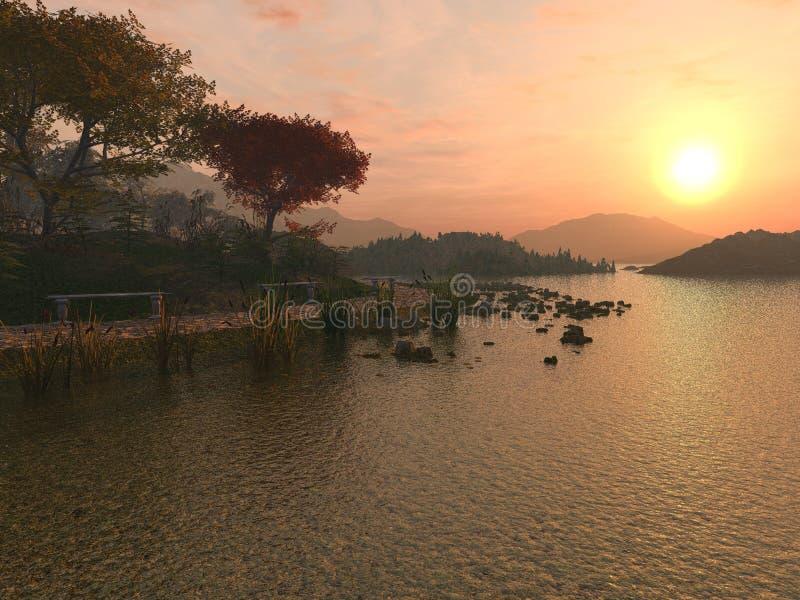 De Zonsondergang van het meer stock foto