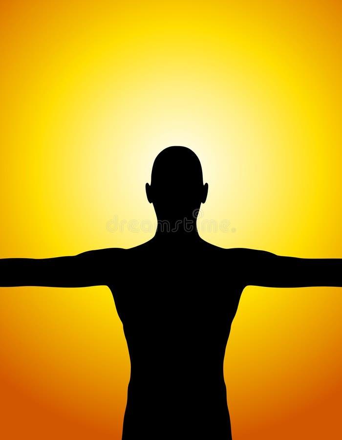 De Zonsondergang van het Silhouet van het menselijke Lichaam vector illustratie