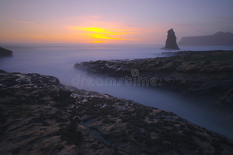 De Zonsondergang van het Strand van Davenport stock foto