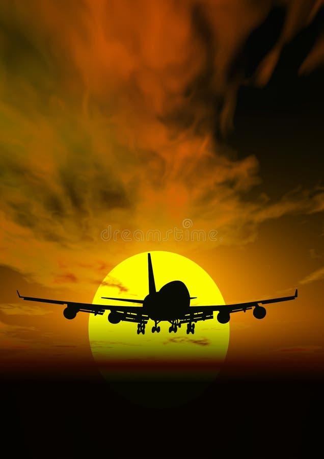 De zonsondergang van het vliegtuig @ royalty-vrije illustratie