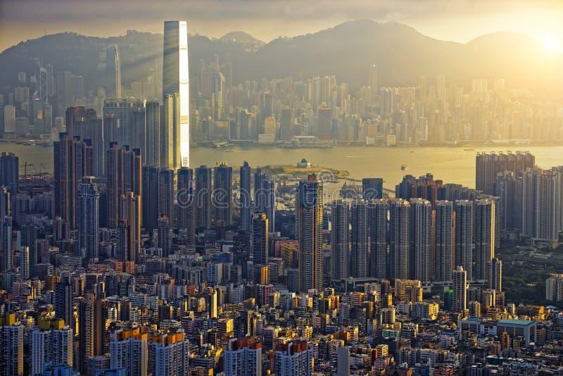 De Zonsondergang van Hongkong stock afbeeldingen