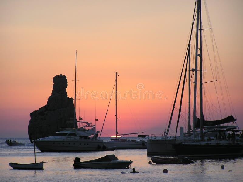 De zonsondergang van Ibiza stock afbeelding