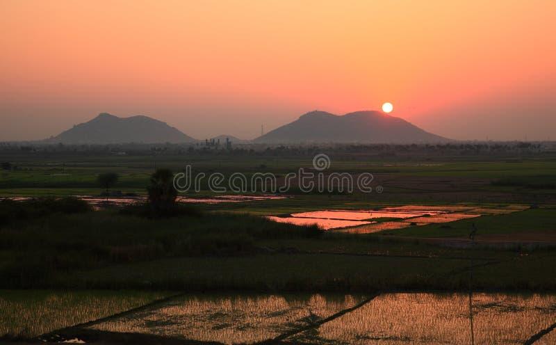 De Zonsondergang van India stock afbeeldingen