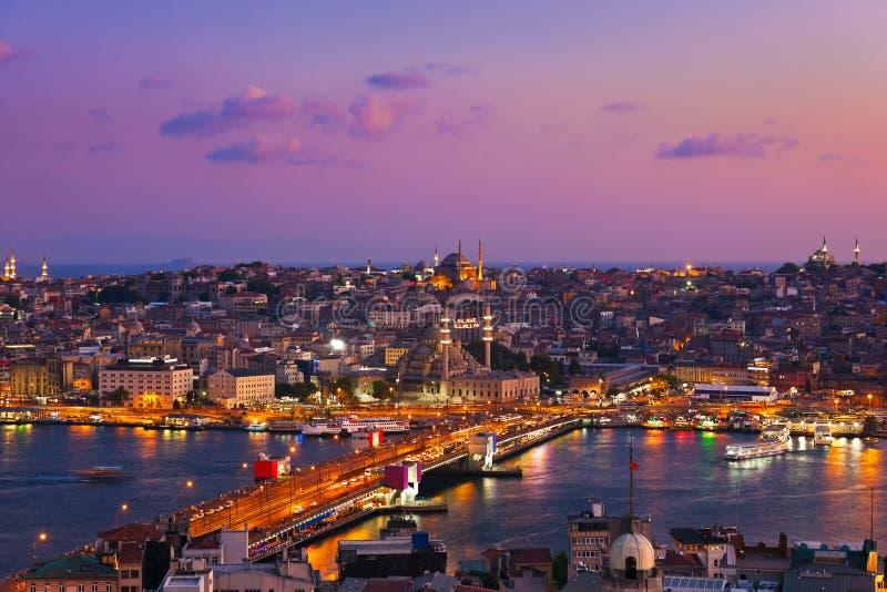 De zonsondergang van Istanboel stock afbeelding