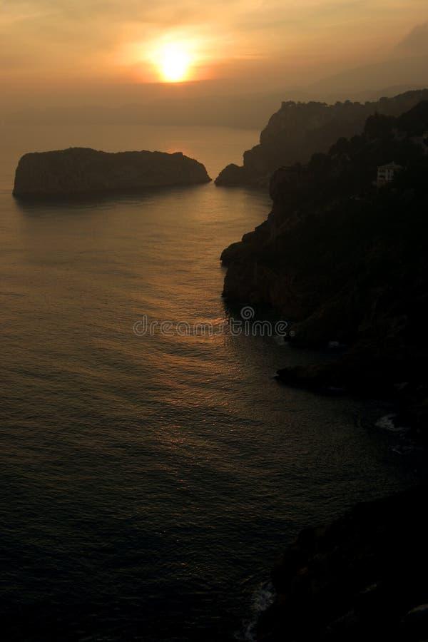 De zonsondergang van Javea stock afbeeldingen