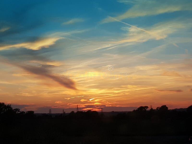 De zonsondergang van Kent in Juni het UK royalty-vrije stock afbeeldingen