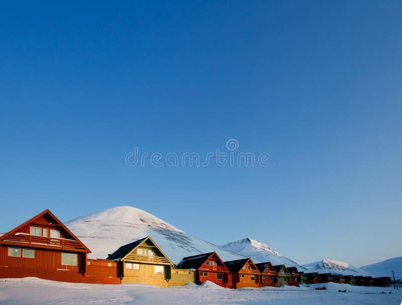 De Zonsondergang van Longyearbyen stock foto's