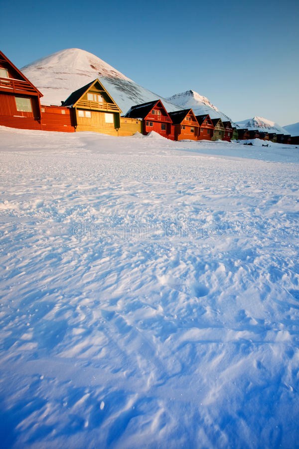 De Zonsondergang van Longyearbyen royalty-vrije stock foto