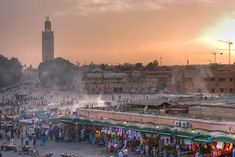 De zonsondergang van Marrakech royalty-vrije stock afbeeldingen