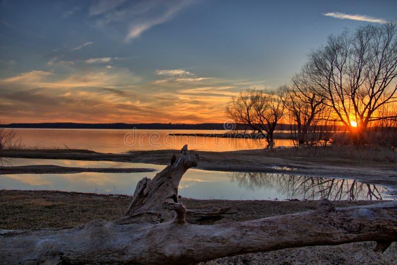 De zonsondergang van meertexoma royalty-vrije stock foto's
