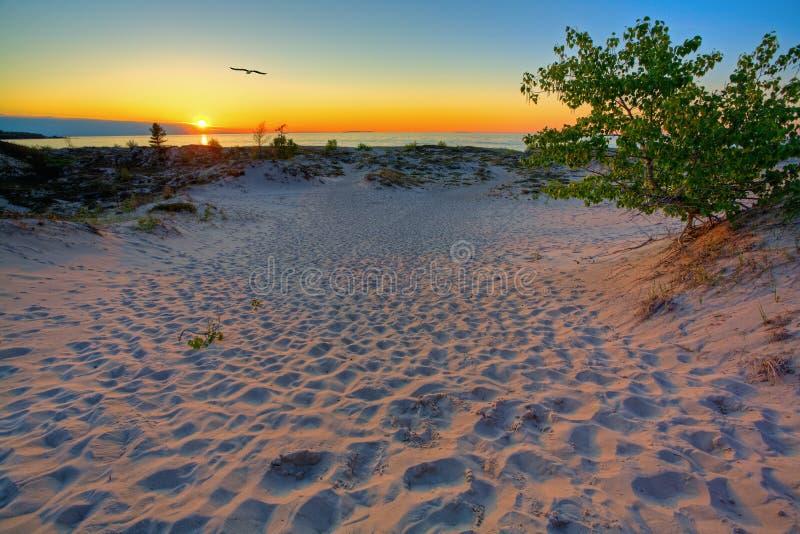 De zonsondergang van Michigan stock foto