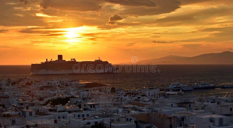De zonsondergang van Mykonos royalty-vrije stock foto's