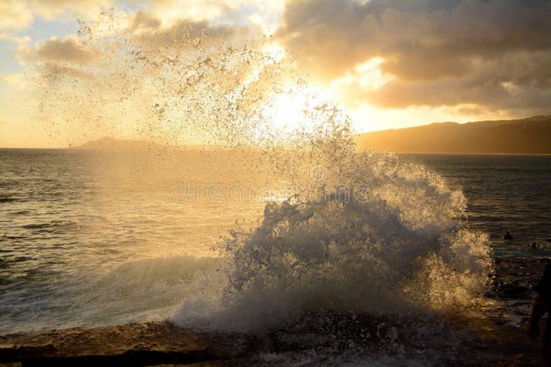 De zonsondergang van Oahu royalty-vrije stock afbeelding