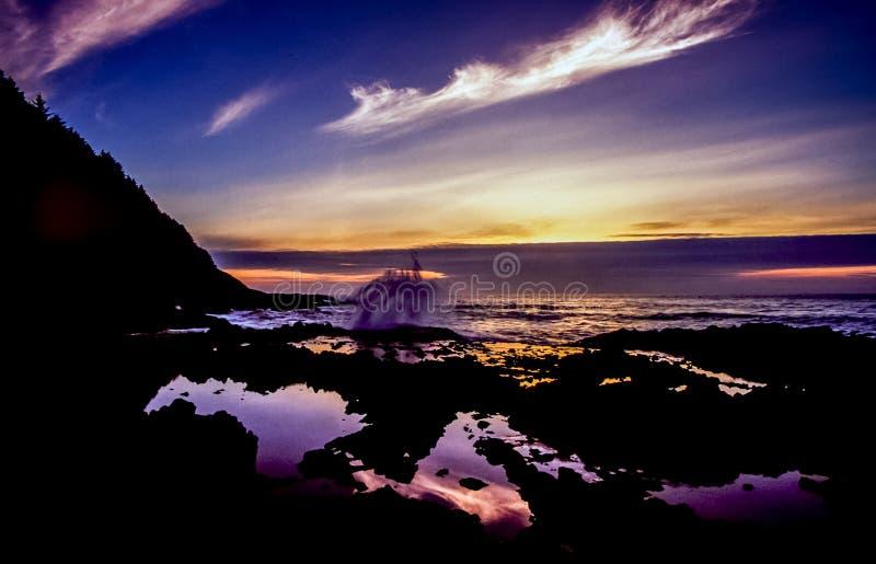 De zonsondergang van Oregon bij zonsondergang stock fotografie