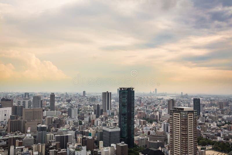 De zonsondergang van Osaka royalty-vrije stock afbeeldingen