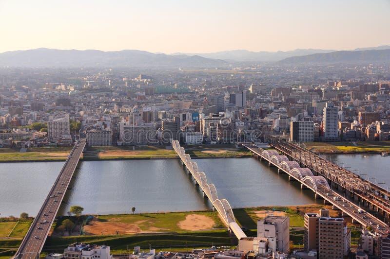 De zonsondergang van Osaka stock foto
