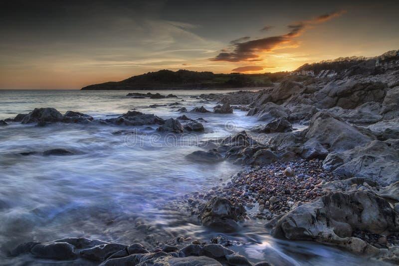 De zonsondergang van de Rothersladebaai stock afbeelding