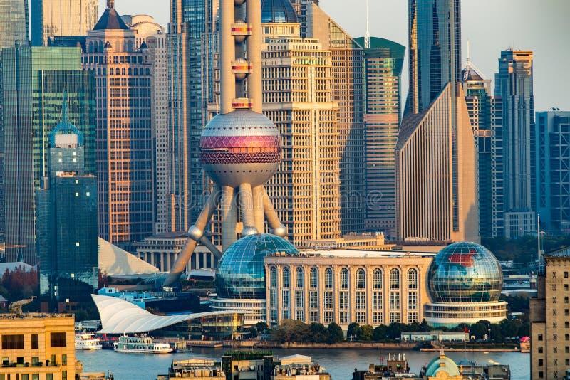 De zonsondergang van Shanghai stock foto's