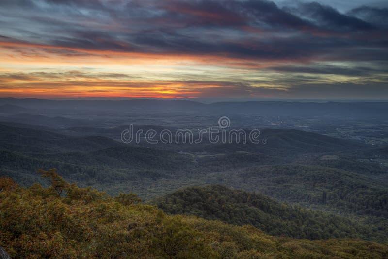 De Zonsondergang van Shenandoah stock foto's