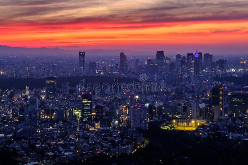 De zonsondergang van Tokyo stock foto