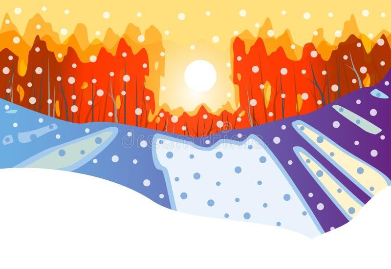 De zonsondergang van de winter vector illustratie
