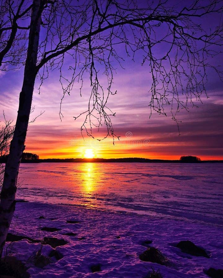 De zonsondergang van de winter stock afbeelding