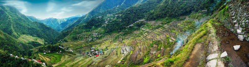De zonsondergang van Yunnanchina Banaue, Filippijnen stock fotografie