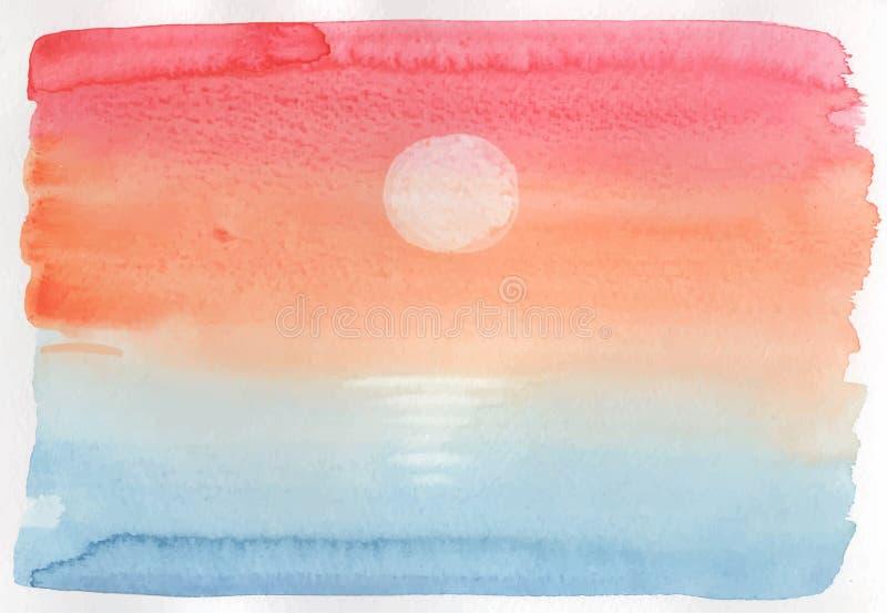 De zonsondergang watercolored vectorachtergrond royalty-vrije illustratie