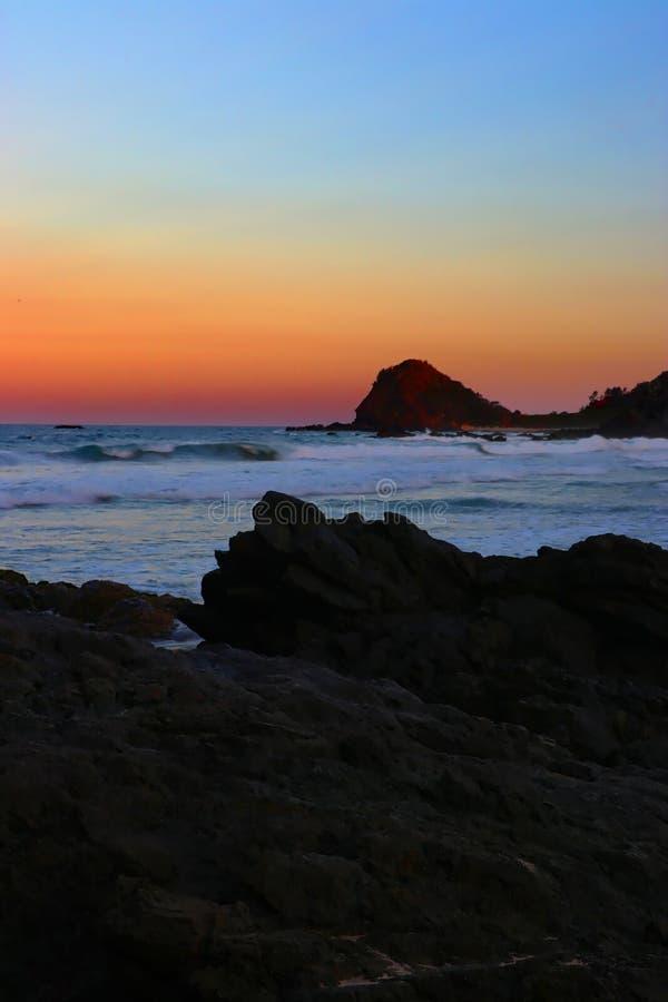 De zonsonderganghaven van het Flynnsstrand macquarie royalty-vrije stock foto