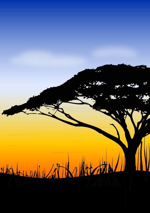 De zonsonderganglandschap van Afrika stock illustratie