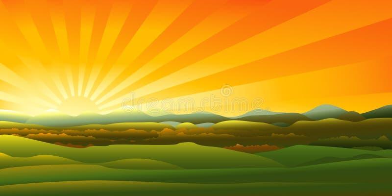 De zonsonderganglandschap van bergen