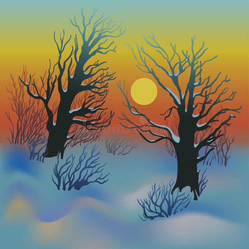 De zonsonderganglandschap van de winter stock illustratie