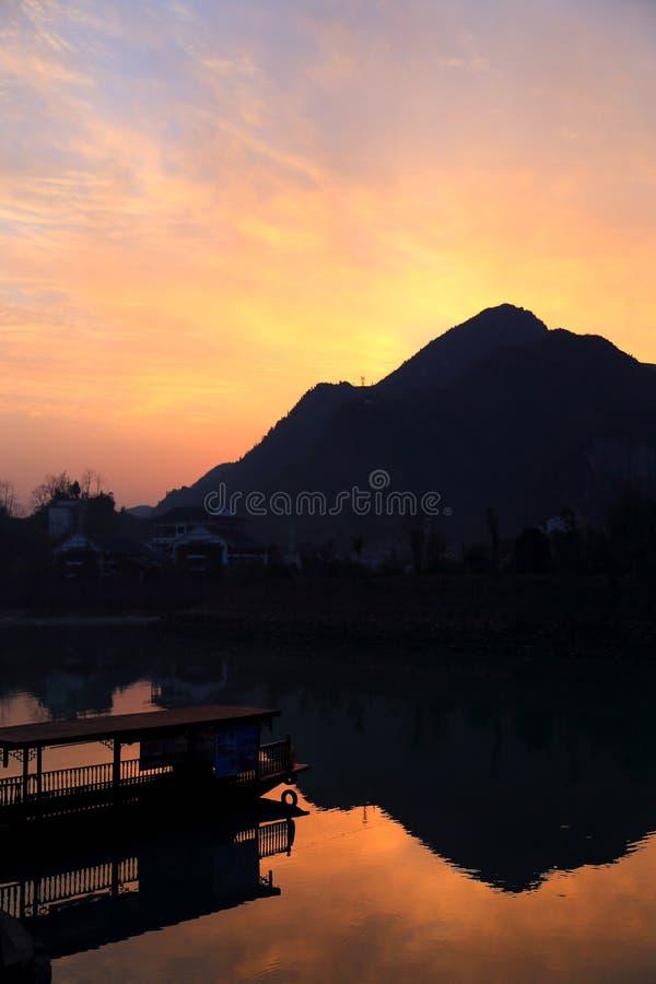 De zonsondergangmeningen van biancheng chadong oude stad in Hunan, China royalty-vrije stock foto's