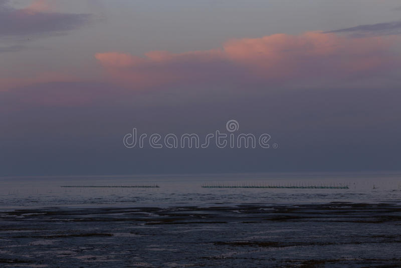 De zonsondergangwolken, het overzees heeft twee rijen van visnetten royalty-vrije stock afbeeldingen