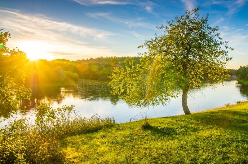 De zonsondergangzon glanst, rivier toneellandschap stock foto's