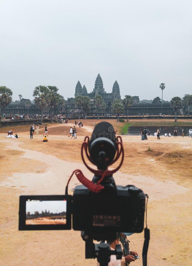 De zonsopgang timelaps voor de tempel van Angkor Wat in Siem oogst, Kambodja royalty-vrije stock foto