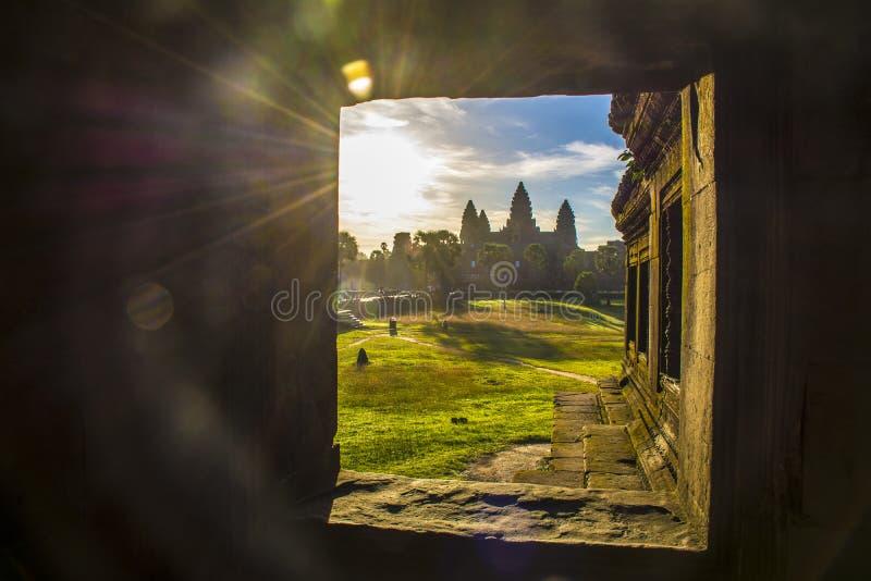 De zonsopgang van Angkor Wat, Siem oogst, Kambodja stock foto's