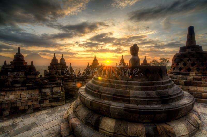 De zonsopgang van Borobudur stock fotografie