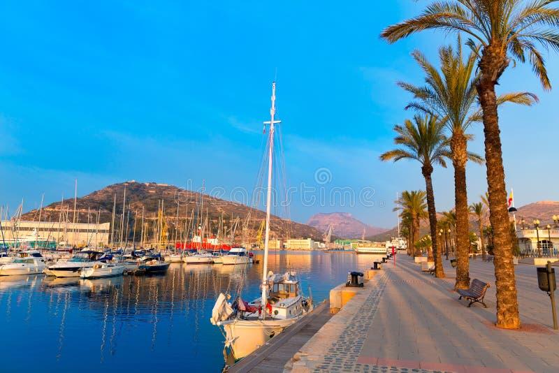 De zonsopgang van de de havenjachthaven van Cartagena Murcia in Spanje stock afbeelding