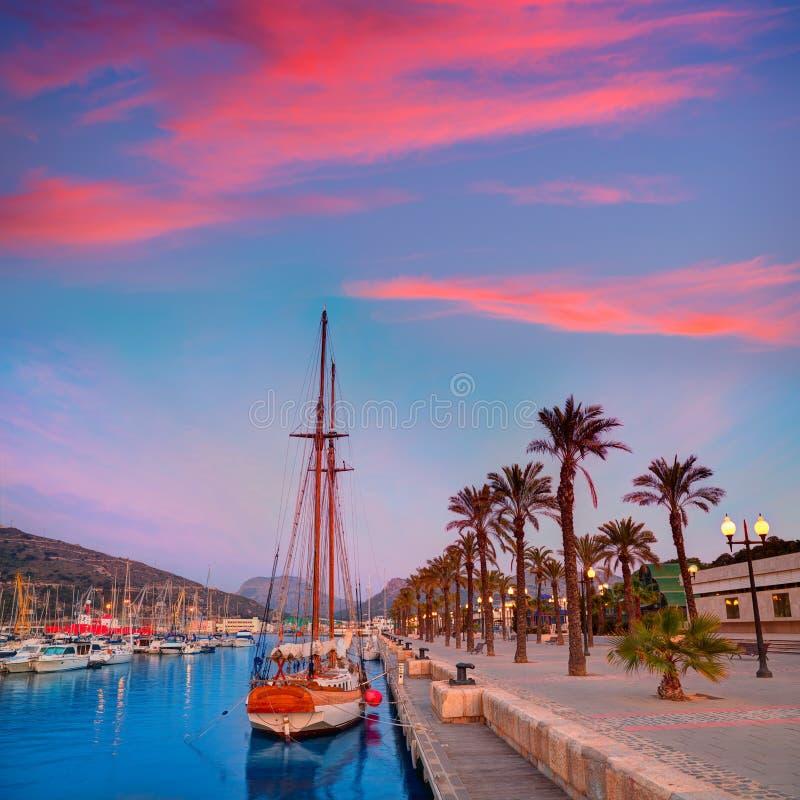 De zonsopgang van de de havenjachthaven van Cartagena Murcia in Spanje stock fotografie