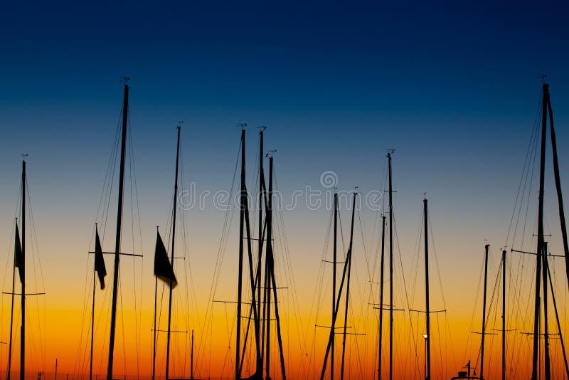 De zonsopgang van de Mast van boten sillhoutte royalty-vrije stock foto
