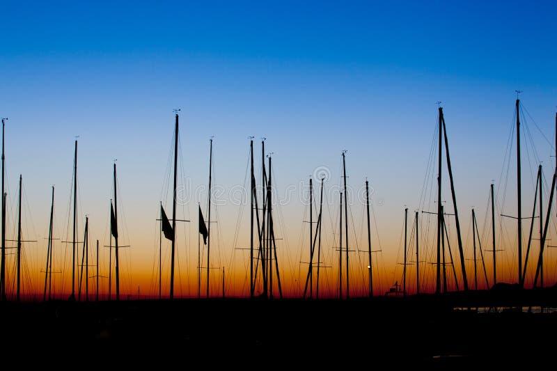 De zonsopgang van de Mast van boten sillhoutte royalty-vrije stock afbeelding