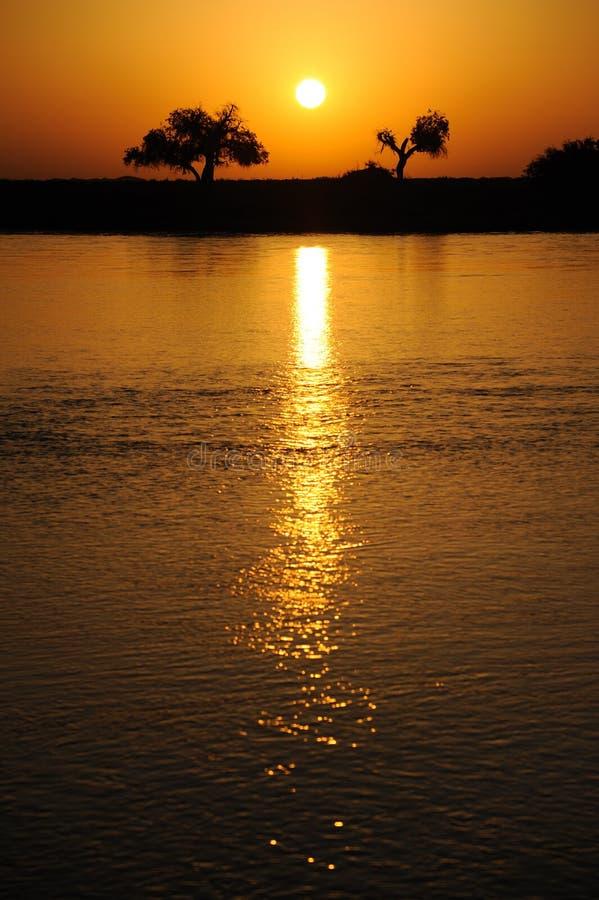 De zonsopgang van de rivier stock foto