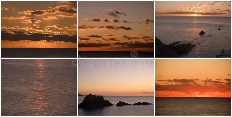 De zonsopgang van de zonsondergang over overzees stock afbeelding