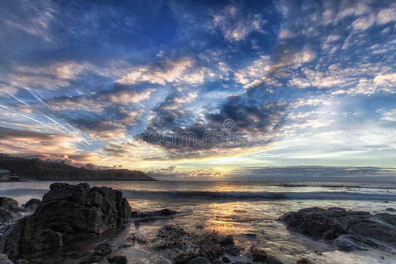 De zonsopgang van het Gowerschiereiland stock afbeeldingen