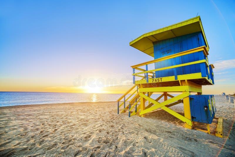 De zonsopgang van het het Zuidenstrand van Miami royalty-vrije stock fotografie
